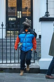 Rita Ora in Puffer Jacket with Brown Boots Out and About in London 11/25/2020 2