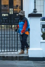 Rita Ora in Puffer Jacket with Brown Boots Out and About in London 11/25/2020 7