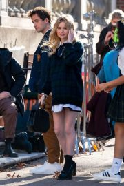 Whitney Peak and Emily Alyn Lind on the Set of Gossip Girl in New York 11/23/2020 2