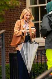 Whitney Peak and Emily Alyn Lind on the Set of Gossip Girl in New York 11/23/2020 12