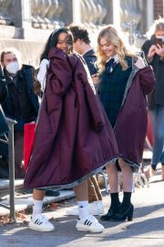 Whitney Peak and Emily Alyn Lind on the Set of Gossip Girl in New York 11/23/2020 15