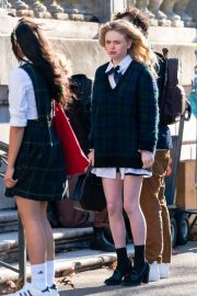 Whitney Peak and Emily Alyn Lind on the Set of Gossip Girl in New York 11/23/2020 16