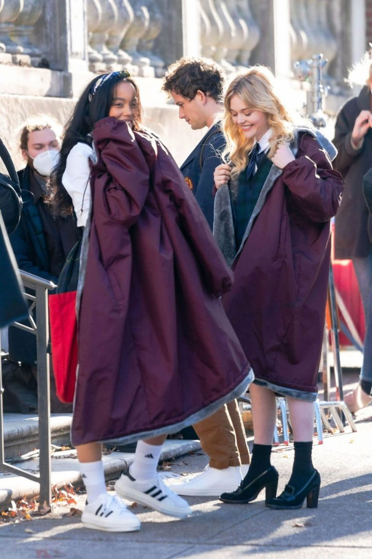 Whitney Peak and Emily Alyn Lind on the Set of Gossip Girl in New York 11/23/2020 19