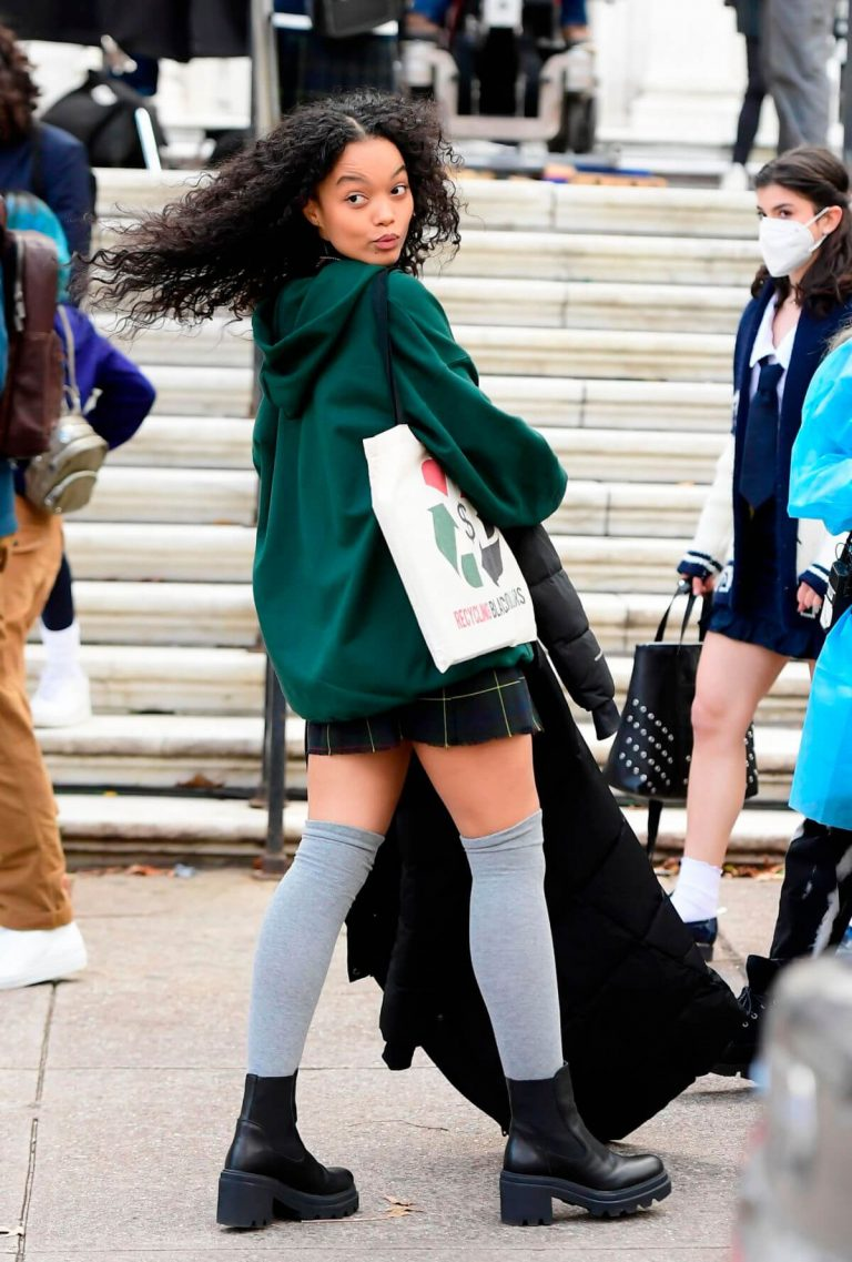Whitney Peak flashes her legs on the Set of Gossip Girl in New York 11/24/2020 4