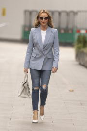 Amanda Holden seen in Light Blue Coat with Ripped Jeans in London 02/11/2021 1