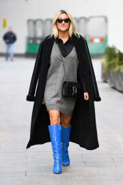 Ashley Roberts After Leaves Heart Radio seen in Long Blue Boots in London 02/12/2021 2