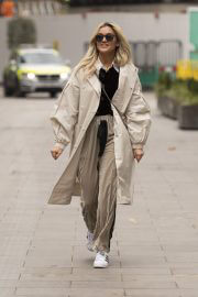 Ashley Roberts Leaves Heart FM in Overlong Coat with tracksuit bottoms in London 02/11/2021 1
