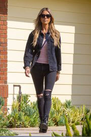 Christina Anstead in Black Jacket with Ripped Jeans Out Filming in Orange County 02/10/2021 1