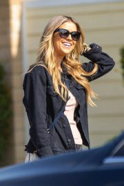 Christina Anstead in Black Jacket with Ripped Jeans Out Filming in Orange County 02/10/2021 2