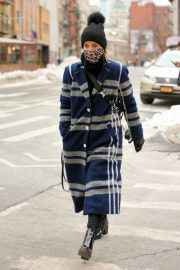 Dianna Agron Wearing in Extra Over Coat with Printed Mask Out in New York 02/10/2021 1
