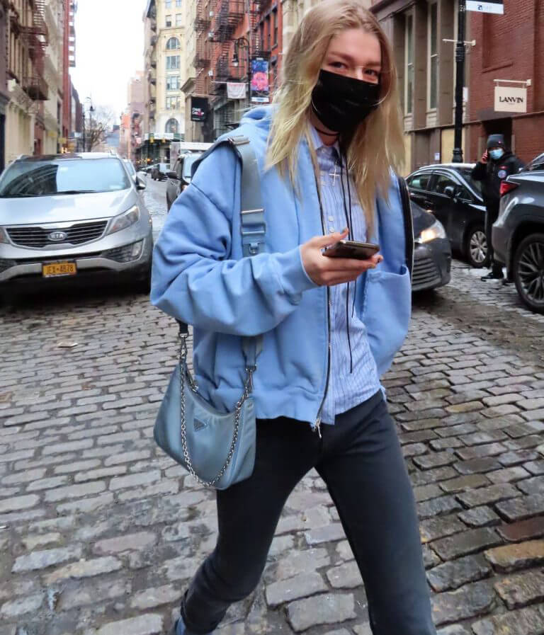 Hunter Schafer in Light Blue Jacket Out and About in New York 02/11/2021 3