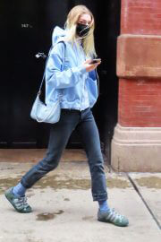 Hunter Schafer in Light Blue Jacket Out and About in New York 02/11/2021 4