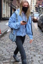 Hunter Schafer in Light Blue Jacket Out and About in New York 02/11/2021 6