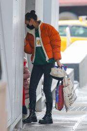 Irina Shayk in Orange Puffer Jacket Out Shopping in New York 02/11/2021 3