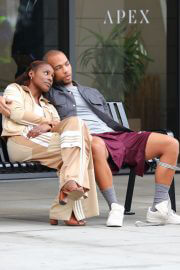 Issa Rae and Kendrick Sampson on the Set of Insecure HBO Max Series in Los Angeles 02/10/2021 2