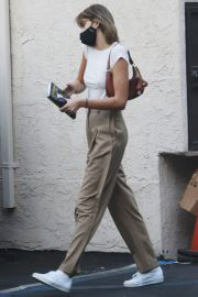 Kaia Jordan Gerber Leaves a Hair Salon in a White Top and Pants Out in Studio City 02/11/2021 6