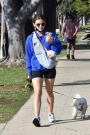Lucy Hale in a Blue Sweatshirt and Shorts Out with Her Dogs in Studio City 02/11/2021 3