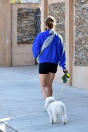 Lucy Hale in a Blue Sweatshirt and Shorts Out with Her Dogs in Studio City 02/11/2021 7