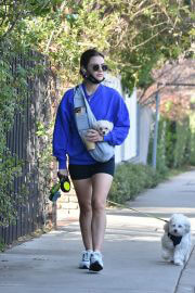 Lucy Hale in a Blue Sweatshirt and Shorts Out with Her Dogs in Studio City 02/11/2021 8