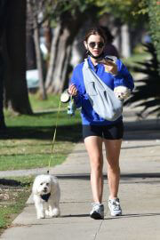 Lucy Hale in a Blue Sweatshirt and Shorts Out with Her Dogs in Studio City 02/11/2021 10