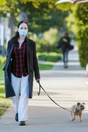 Madeleine Stowe walks with Her Dog Out in Los Angeles 02/09/2021 3
