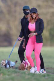 Alexandra Burke Complete Her Sports Look in Bold Pink Sportswear as She Workout at a Park in London 03/10/2021 7