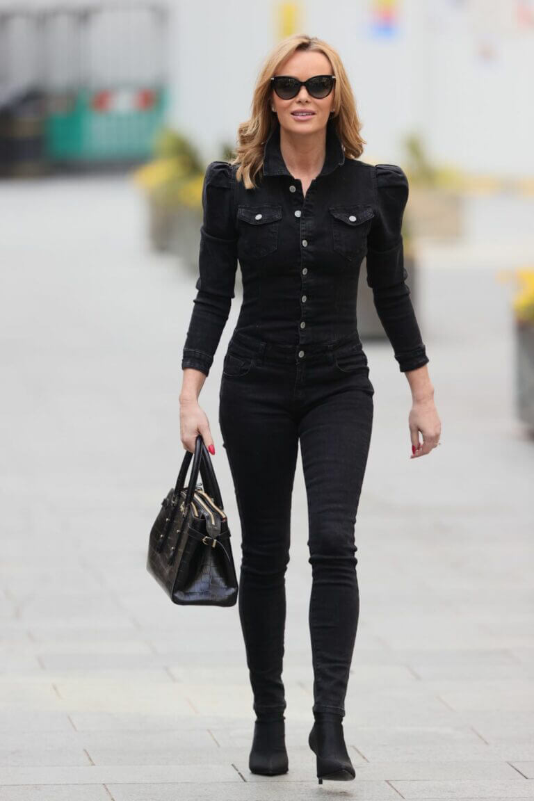 Amanda Holden All in Black Steps Out From Heart Radio in London 03/24/2021 5