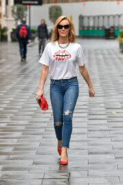 Amanda Holden Rocks in a Logo T-shirt and Skinny Jeans as She Leaves Global Studios in London 03/16/2021 2