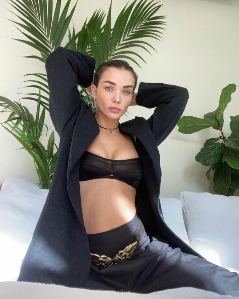 Amy Jackson in Black Alberta Ferretti Combo for Fall/Winter 2021 4