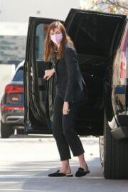 Anne Hathaway Steps Out from Car and Arrives at a Meeting in Los Angeles 02/24/2021 1