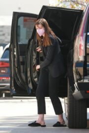 Anne Hathaway Steps Out from Car and Arrives at a Meeting in Los Angeles 02/24/2021 3