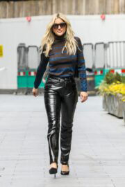 Ashley Roberts in Leather Jeans Leaves Heart Radio Breakfast Show in London 03/24/202 3