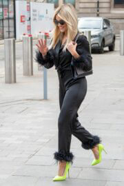 Ashley Roberts in Satin Pajama Suit and Neon Green Heels as She Leaves Heart FM Radio in London 03/15/2021 2