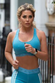 Bianca Gascoigne in Blue Crop Top and Tights as She Out for Jogging in London 02/24/2021 1