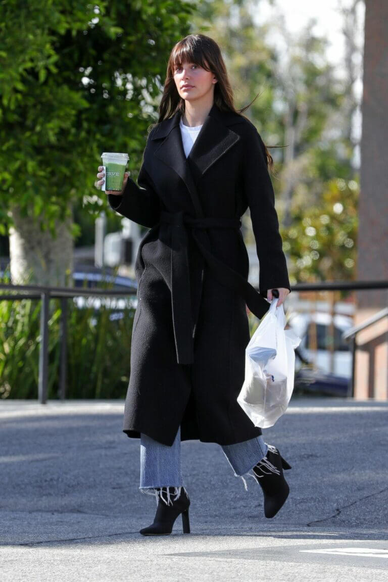 Camila Morrone in Black Coat and Matching Boots Out in Los Angeles 03/11/2021 4