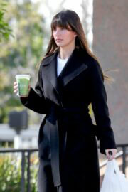 Camila Morrone in Black Coat and Matching Boots Out in Los Angeles 03/11/2021 5