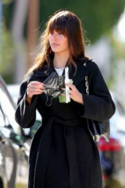 Camila Morrone in Black Coat and Matching Boots Out in Los Angeles 03/11/2021 7
