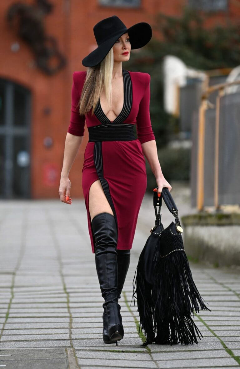 Caprice Bourret in a Skintight Midi Dress Out in London 03/11/2021 1