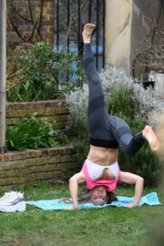 Caprice Bourret is Doing Yoga at a Park in London 03/23/2021 6