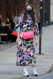Caroline Vazzana in Floral Dress Out in New York 03/11/2021 1