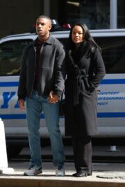 Chante Adams and Michael B. Jordan Hold Hands as They are Filming for A Journal for Jordan 03/12/2021 1