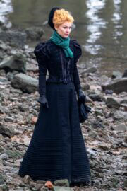 Claire Danes Wears Gown on the Set of The Essex Serpent in London 02/22/2021 5