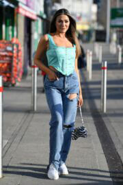 Frankie Sims in Denim Spotted on the Set of 'The Only Way is Essex' in Brentwood 03/09/2021 2