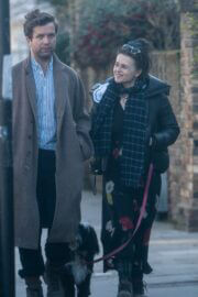 Helena Bonham Carter and Rye Dag Holmboe Steps Out with Their Dogs in London 03/22/2021 2