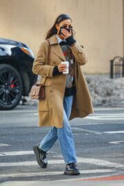 Irina Shayk in a beige coat as she is out in New York 02/24/2021 1