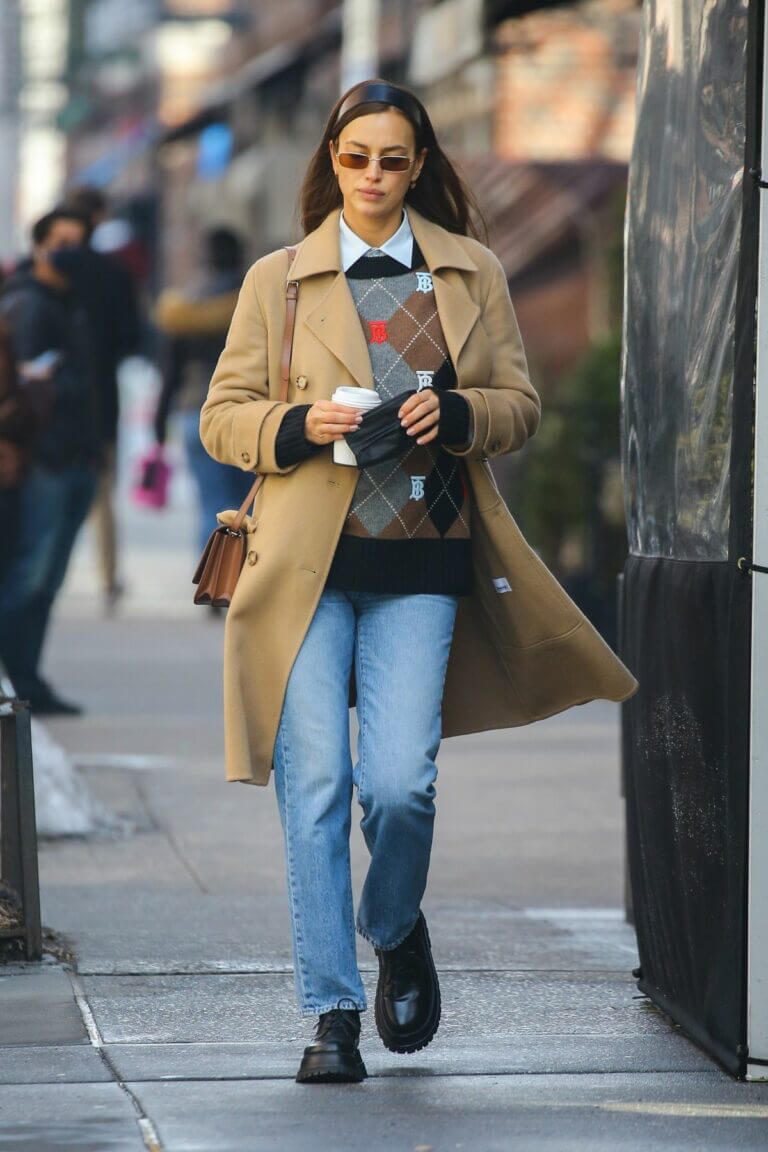 Irina Shayk in a beige coat as she is out in New York 02/24/2021 5