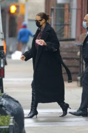 Irina Shayk In Black Long Coat Out in New York 02/23/2021 2