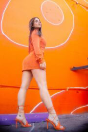 Joanna Noelle Levesque in Orange Bodycon at a Photoshoot, February 2021 3