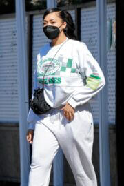 Jordyn Woods in White Comfy Outfit Out in Los Angeles 02/24/2021 3