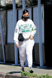 Jordyn Woods in White Comfy Outfit Out in Los Angeles 02/24/2021 6